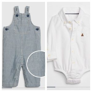 NWT GAP BABY Buttonup Bodysuit + Overalls - 6-12M